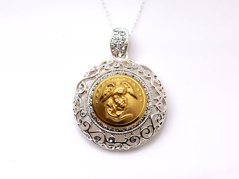 Marine Button Necklace - Large Silver Rhinestone Pendant