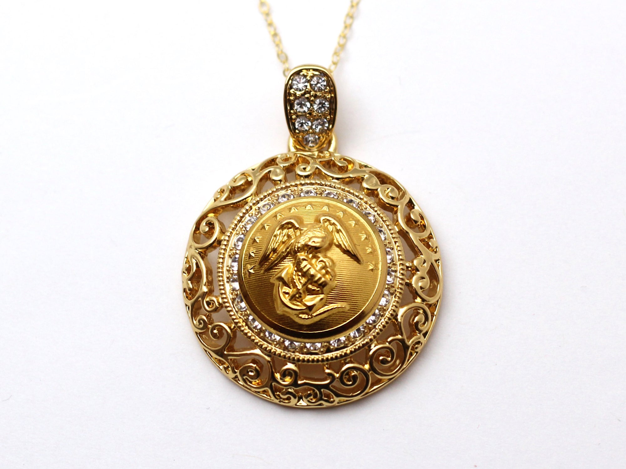 Marine Button Necklace - Large Gold Rhinestone Pendant