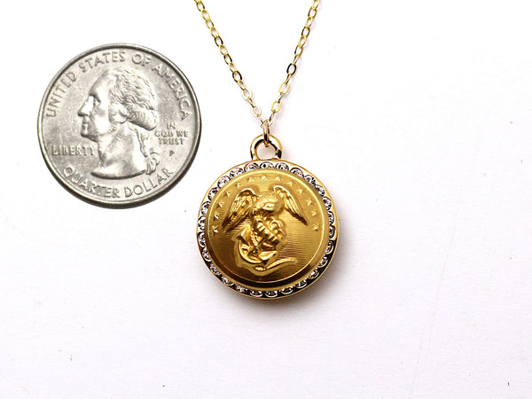 Marine Button Necklace - Small Rhinestone Gold Pendant