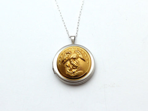 Marine Button Silver Locket Necklace