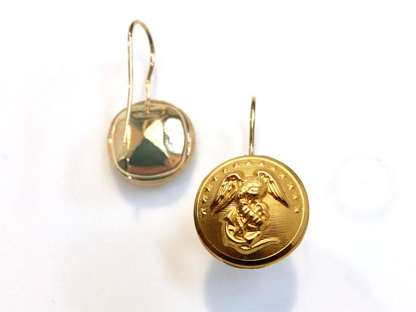 Marine Button French Wire Earrings