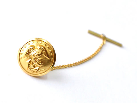 Marine Button Gold Tie Tack