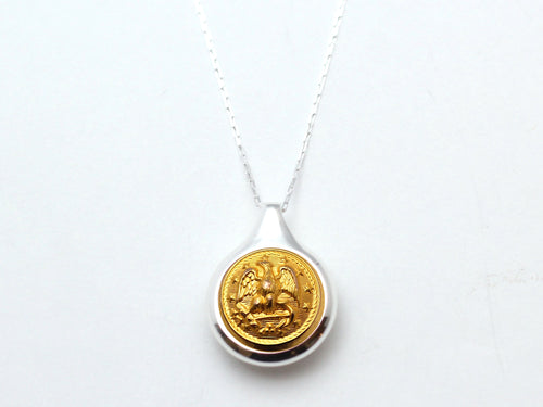 Navy Button Sleek Silver Necklace