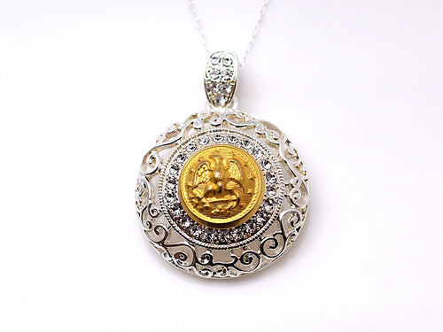 Navy Button Necklace - Large Silver Rhinestone Pendant