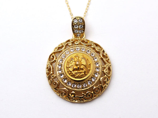 Navy Button Necklace - Large Gold Rhinestone Pendant