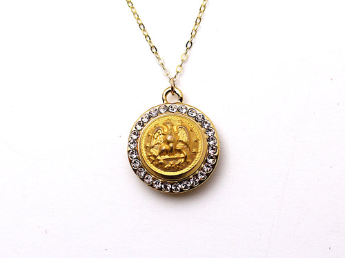 Navy Button Necklace - Small Rhinestone Gold Pendant