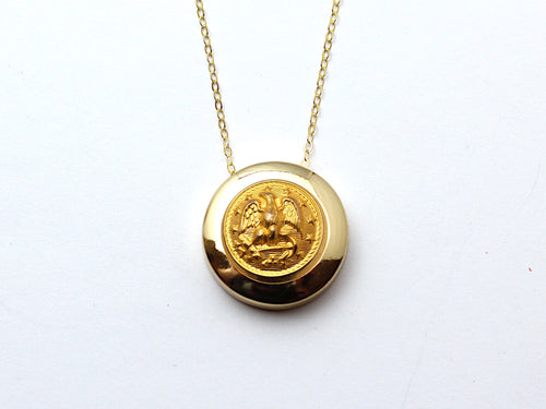Navy Button Necklace Channel Gold Setting