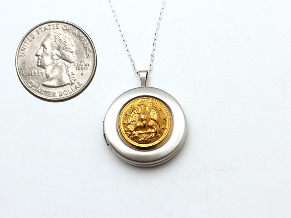 Navy Button Silver Locket Necklace