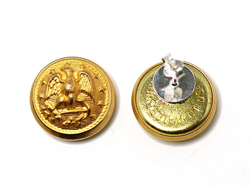 Navy Button Post Earrings