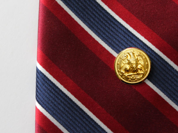 Navy Button Gold Tie Tack