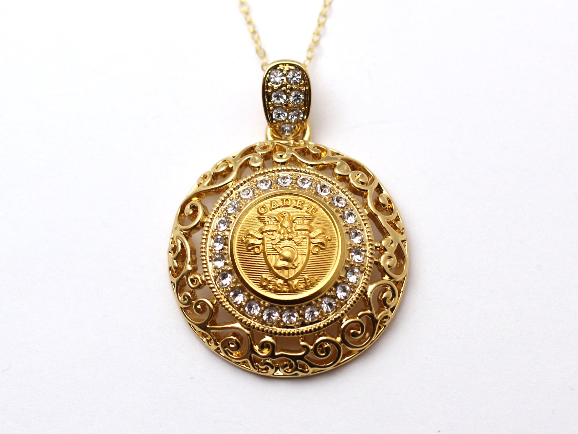 USMA Button Necklace - Large Gold Rhinestone Pendant