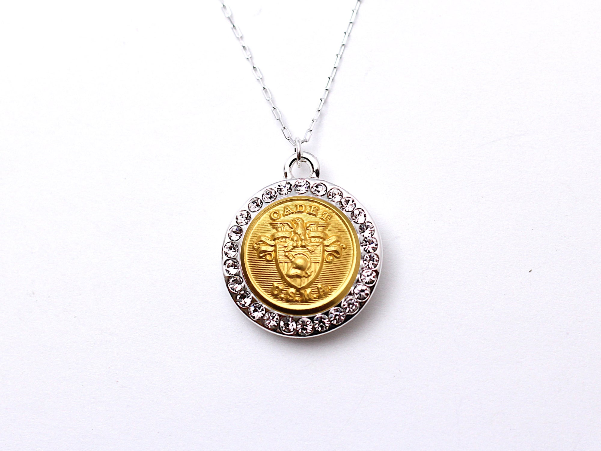 USMA Button Necklace - Small Rhinestone Silver Pendant
