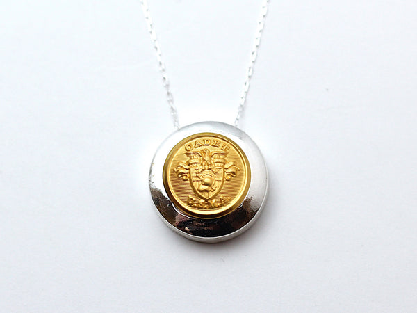 USMA Button Necklace Channel Silver Setting