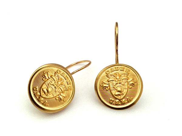 USMA Button French Wire Earrings