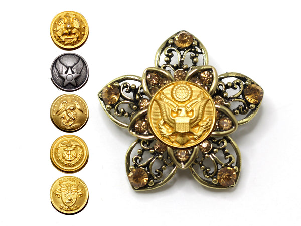 Military Button Brooch 14J
