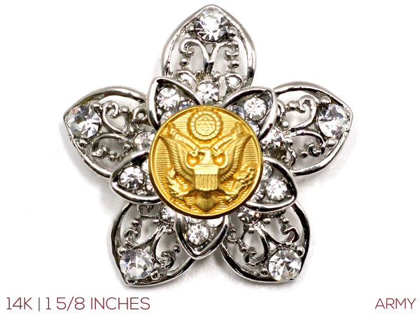 Military Button Brooch 14K
