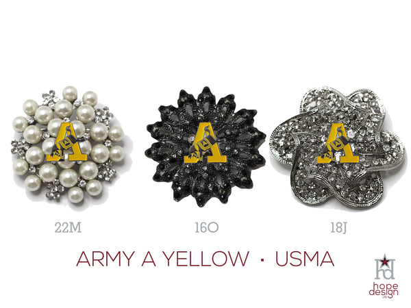 West Point Army Yellow A Brooch