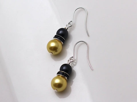Black & Gold Pearl Earrings