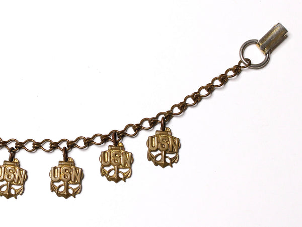 WWII-era Vintage Sweetheart Bracelet | Navy & Virgin Mary VB114