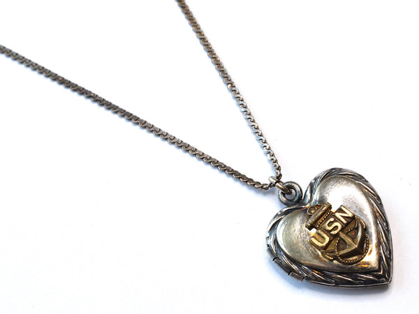 WWII-era Vintage Sweetheart Necklace | Navy Locket VB119
