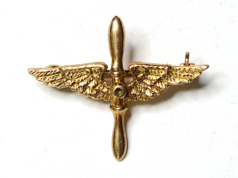 WWII-era Vintage Sweetheart Pin | 14K gold Aviation prop and wings VB135