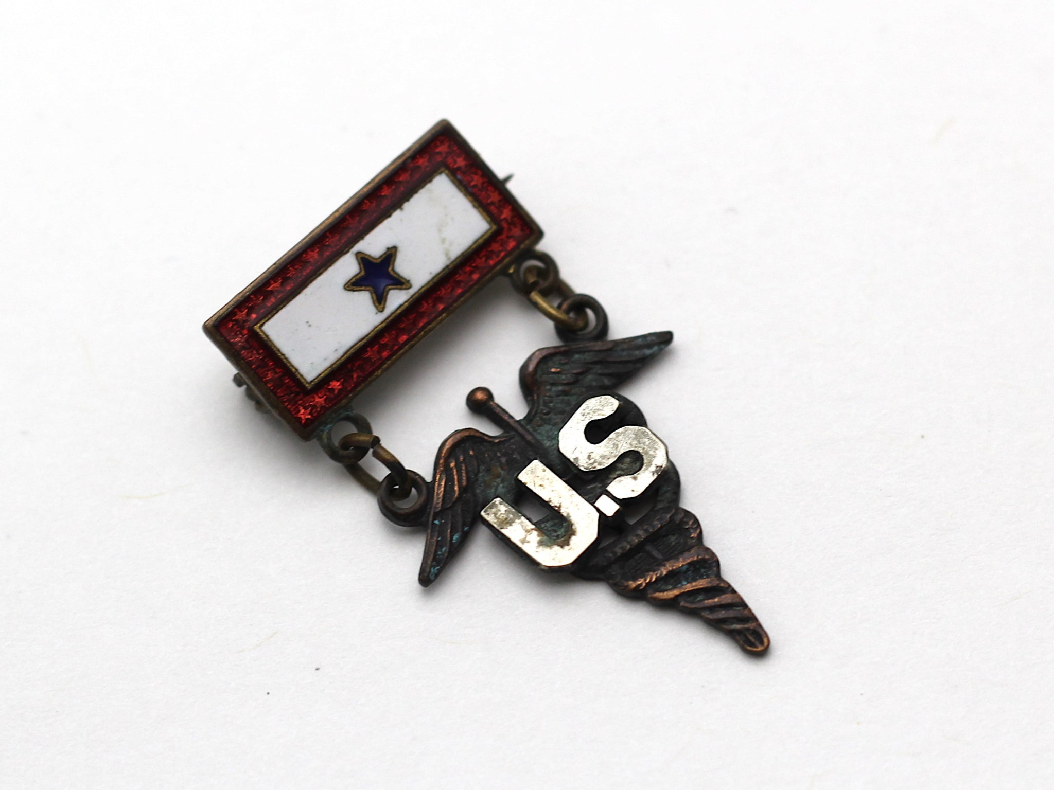 WWII-era Vintage Sweetheart Pin | Medical Caduceus and 1 Blue Star VB140