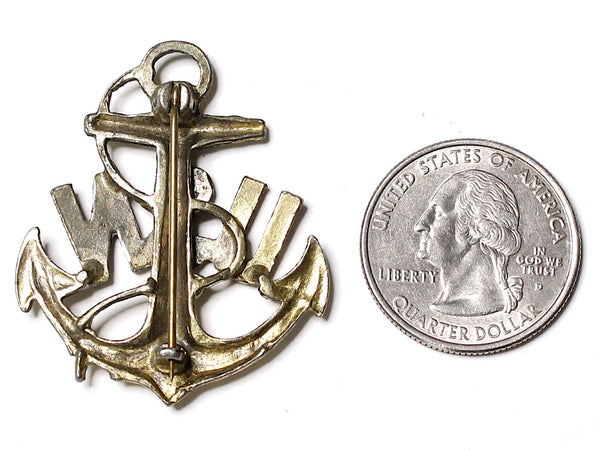 WWII-era Vintage Sweetheart Pin | USN Anchor Brooch VB141