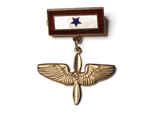WWII-era Vintage Sweetheart Pin | Aviation and 1 Blue Star VB160