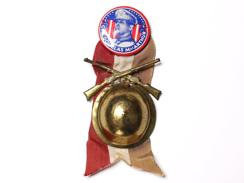 WWII-era Vintage Sweetheart Pin | General MacArthur Infantry Rifles VB163