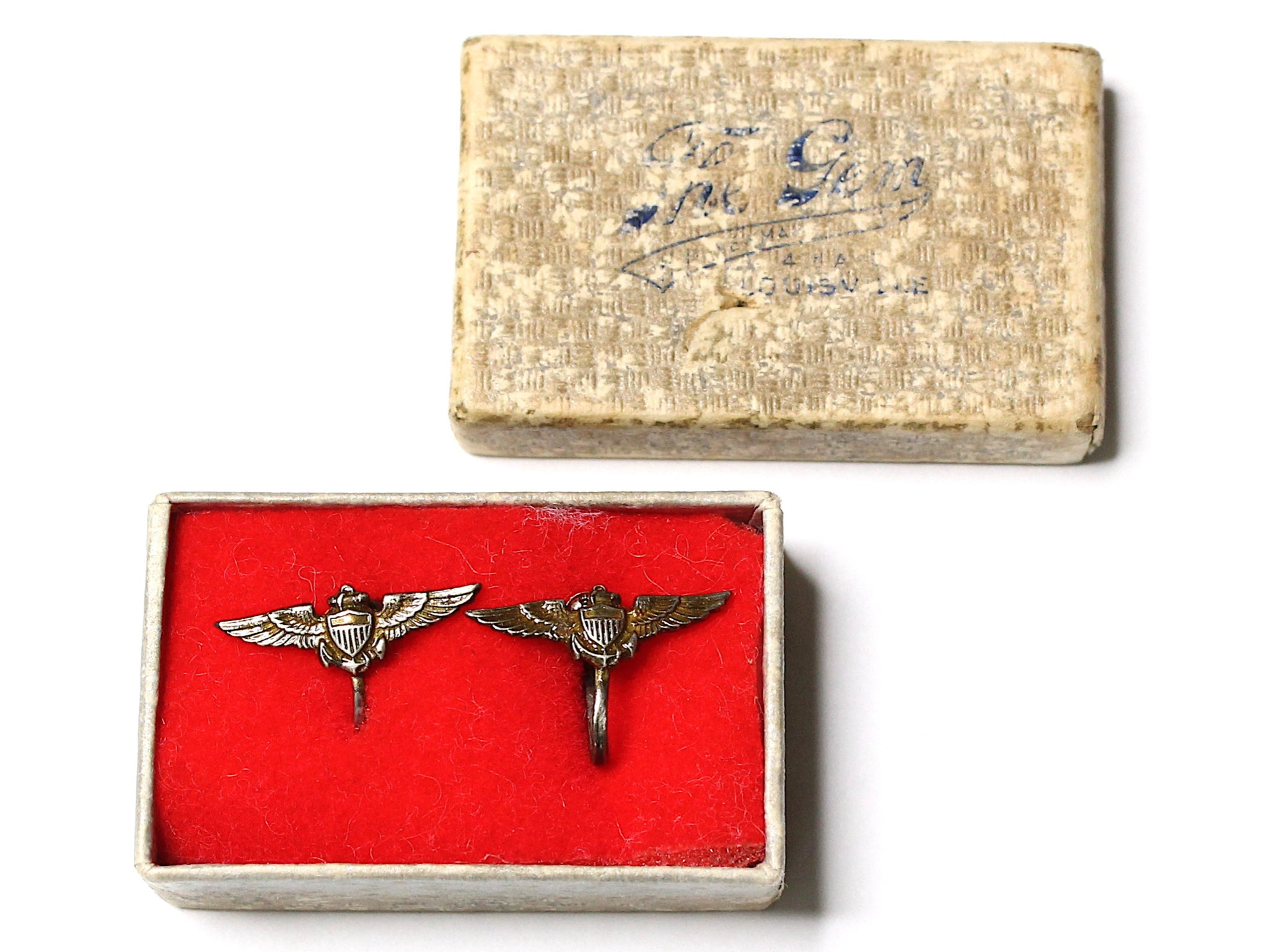 WWII-era Vintage Sweetheart Naval Pilot Earrings | Aviation VB170