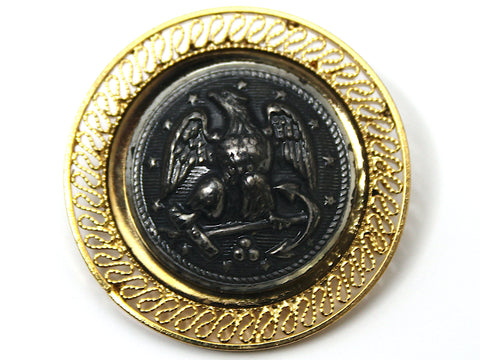 Navy Button One of a Kind Brooch BR162