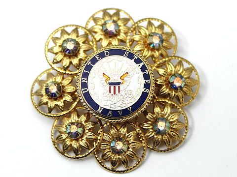 Navy One of a Kind Brooch BR167