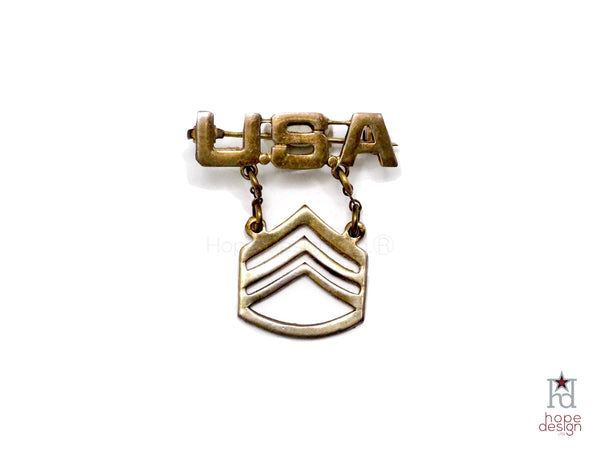 WWII-era Vintage Sweetheart Pin | Army SSG Rank VB34