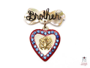 WWII-era Vintage Sweetheart Pin | Brother Mother of Pearl VB42