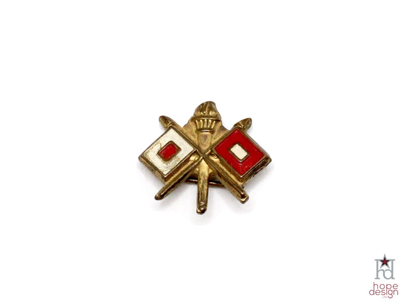 WWII-era Vintage Sweetheart Pin | Army Signal Corps VB86