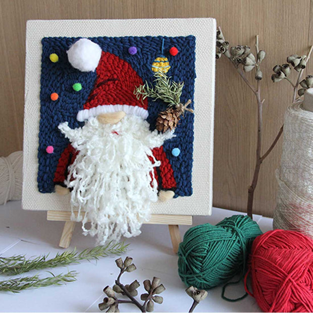 DIY Knitting Wool Rug Hooking Kit Handcraft Woolen Embroidery Creative Gift with 26 x 26cm Wooden Frame Punch Needle Tripod - Santa Claus
