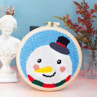 DIY Knitting Wool Rug Hooking Kit Handcraft Woolen Embroidery Creative Gift with 20cm Embroidery Frame Poke Needle - Snowman