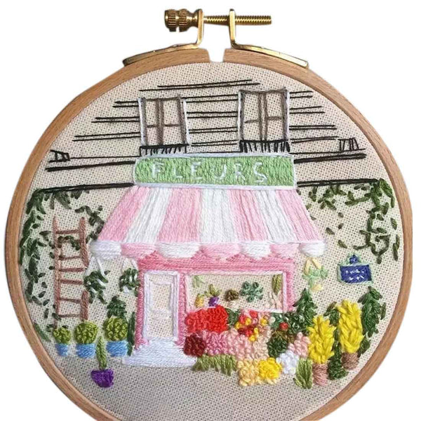 DIY Knitting Wool Rug Hooking Kit Handcraft Woolen Embroidery Creative Gift with 15 x 15cm Embroidery Frame Punch Needle - Fragrant Flower Shop