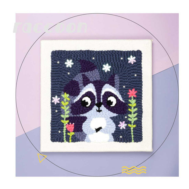 Raccoon DIY Rug Hooking Punch Needle Embroidery Hand Craft - idiypaint