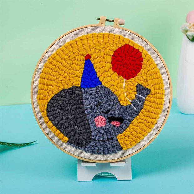 DIY Punch Needle Kit Handcraft Woolen Embroidery Creative Gift with 21cm Frame  - Calf Elephant