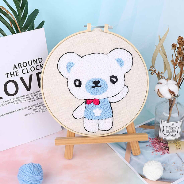 Little Bear Boy DIY Knitting Wool Rug Hooking Punch Needle Embroidery Kit-without Holder - idiypaint