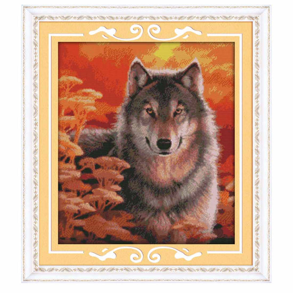 Autumn Wolf-  DIY Cross Stitch Kits - idiypaint