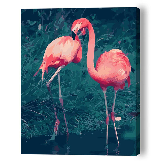 Flamingo Love (Two) -40*50cm DIY Paint by Numbers Kits - idiypaint