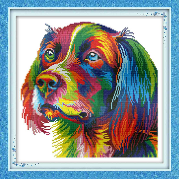 Rainbow Dog-  DIY Cross Stitch Kits - idiypaint