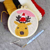 Christmas Deer DIY Knitting Wool Rug Hooking Punch Needle Embroidery Kit - idiypaint