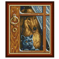 Puppy In The Window -  DIY Cross Stitch Kits - idiypaint