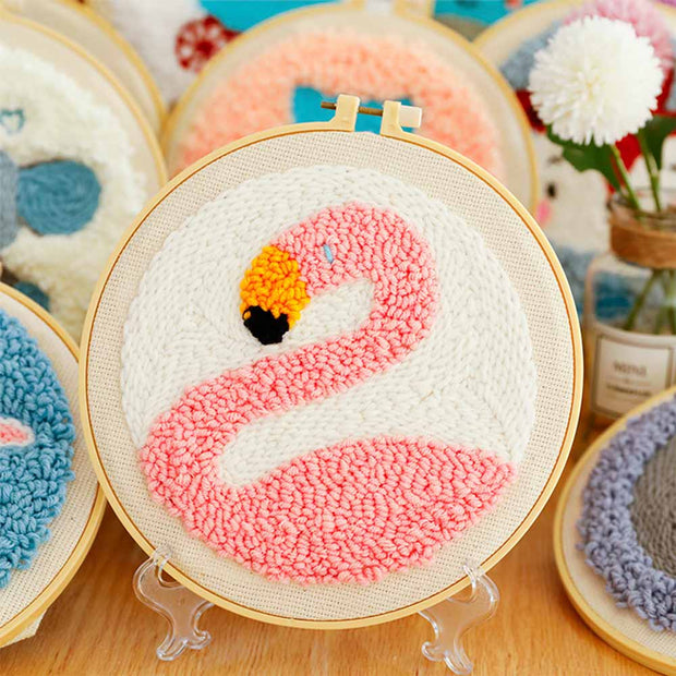 DIY Punch Needle Kit Handcraft Creative Gift with Embroidery Frame - Flamingo