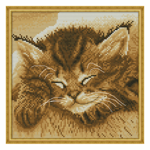 Sleeping Cat(Four) -  DIY Cross Stitch Kits - idiypaint
