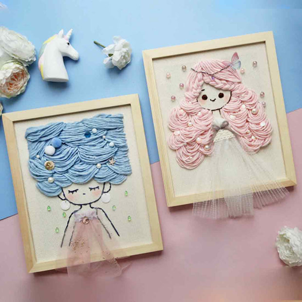 DIY Knitting Wool Rug Hooking Kit Handcraft Woolen Embroidery Creative Gift with 25 x 30cm Wooden Frame Poke Needle Photo Frame