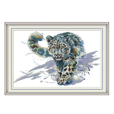 Snow Leopard-  DIY Cross Stitch Kits - idiypaint